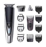 HATTEKER Bartschneider Herren Haarschneider Bart Trimmer Pro Haarschneidemaschine Rasieren Haartrimmer Nasentrimmer Bodygroomer Wasserdichter USB Wiederaufladbar 5 In 1