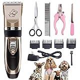 AODATU Tierhaarschneider Schermaschine Hunde Katze Haustiere Haarschneider Wasserdicht Wiederaufladbar Drahtlose Leise Tierhaarschneidemaschine Kit