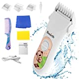 Bimirth Elektronischer Baby Haarschneider, Ruhig Schnurloser Haarschneidemaschine Kit für Kinder, USB Wiederaufladbare Haartrimmer mit Safe Ceramic Blade, Wasserdicht, 3 Schutzkamm