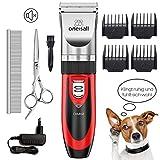ONEISALL Tierhaarschneider Haarschneidemaschine Haarschneider Schermaschine Hund und Katze Timmer Haustier Grooming Clipper Kits Elektrische Leise Tierhaarschneidemaschine-Rot