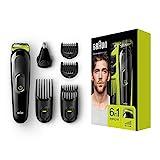 Braun 6-in-1 Multi-Grooming-Kit MGK3021, Barttrimmer und Haarschneider, Ohren- und Nasenhaartrimmer, lebenslang scharfe Klingen, schwarz/grün