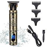 Haarschneider für Männer Bartschneider mit T-Klinge Drahtloser wiederaufladbarer Haarpflegemesser mit LED-Anzeige 0 mm kahlköpfiger elektrischer Pro Li Haarschneider (Golden)
