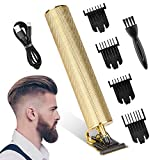 Vivibel Haarschneider T-Klingen-Trimmer Haarschneidemaschine Haartrimmer Bartschneider Herren Konturenschneider Detailer Haarschneider für Männer Akku-Haarschneidemaschine Barbershop (Golden)