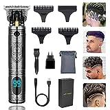 Elektrischer Haarschneider, Aikufe Kabelloser Haarschneidemaschine Profi Männer 0 mm Wiederaufladbar Haartrimmer T Blade Bartschneider Herren, Bart Trimmer Rasierer mit LED-Anzeige und 3 Führungskämme