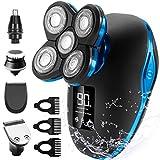 Glatzen Rasierer Herren, OriHea TwinShaver Rasierer LED - Display Präzisionstrimmer Bartschneider Nass&Trockenrasierer IPX7 Wasserdicht, 5 IN 1 Rotationsrasierer kopfrasierer herren elektrisch - Blau