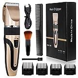 ENONEO Profi Haarschneidemaschine Herren USB Elektrisch Haarschneider Set mit 7 Zubehör + 9 Präzisionslängeneinstellung Haartrimmer Herren Kabellos Langhaarschneider für Kinder/Männer (Golden)