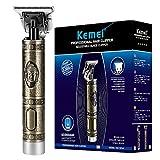 KEMEI Haarschneidemaschinen für Männer, Zero Gapped Trimmer USB Wiederaufladbare T-Klinge 0 mm Detail Glatze Professionelle Haarschneidemaschinen mit 4 Limit Kämme, Buddha