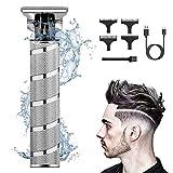 Haarschneidemaschine Profi Haarschneider,0-3 mm Kabelloser T-Blade Trimmer,USB Elektrischer Konturenschneider mit Waterproof,Langhaarschneider Herren Kinder,Bartschneider Haartrimmer(Silber)