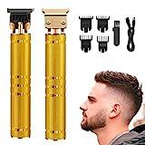 Haarschneidemaschine Profi,Haarschneider Herren ,T-Klingen-Trimmer Haartrimmer USB-Aufladung 4 Kämme für Männer und den Heimgebrauch(Golden)